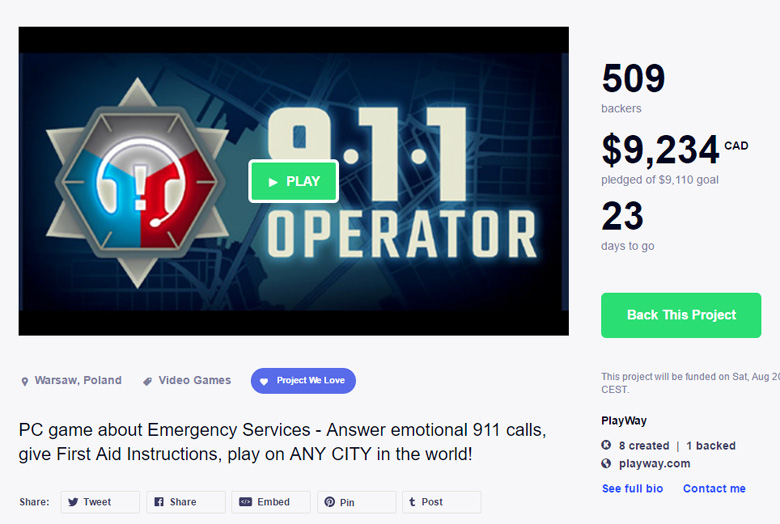 PlayWay - 911 Operator - GDWC #1 WINNER